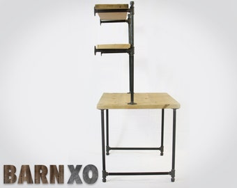 Raw Reclaimed Computer Desk w/ 2 Shelves Attach to Wall - Industrial Gas Piping for Leg Base & Shelf - FAS