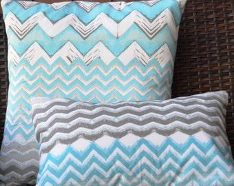 2 Chevron Cushions, Beach Blue Throw Pillows, Home Decor