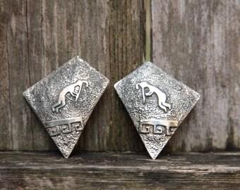 Kokopelli Sterling Silver Earrings/Indian Hand Made Sterling Silver/IHMSS/Man With Trumpet Earrings/Navajo Earrings/Foster Yazzie