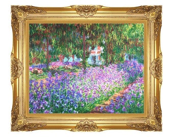 Framed Print The Artist's Garden at Giverny Claude Monet Wall Art on Canvas Painting Reproduction - Small to Large Sizes - M00006-706