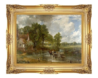 Framed Print Canvas Wall Art The Hay Wain by John Constable Giclee Painting Reproduction - Sizes Small to Large - M00436
