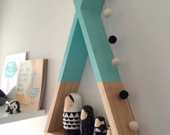 Teepee Shelf Mint Shelves Woodland Nursery Decor Tribal Nursery Decor Kid's Room Decor