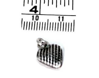 2 Thai Karen Hill Tribe Silver Textured Heart Charms, 10mm x 12mm, Fair Trade, fine silver, charms, silver heart charms