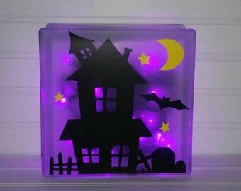 Halloween Glass Block, Halloween Decor, Glass Block