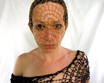 golden rubber lace mask. fetish lace. fishnet spiral crochet lace. handmade all sizes