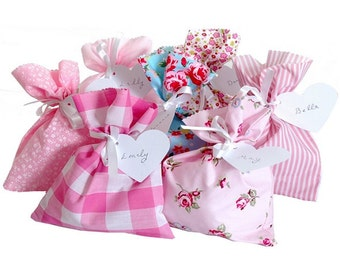 Pink Shabby Chic Assorted Fabric Party Bags & Gift Tag