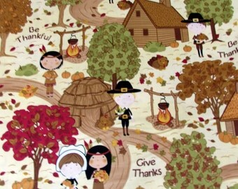 Thanksgiving Give Thanks Fabric with Cream Background