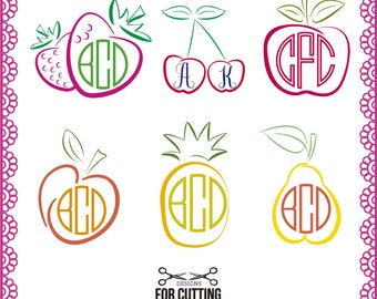 FRUIT, cut Files .svg / .eps / .dxf, pineapple, cherry, apple, peach, strawberry, pear, Cutting or Printing, Instant Download. 0060