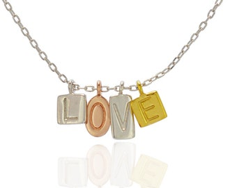 Sterling Silver LOVE Charm Necklace 925