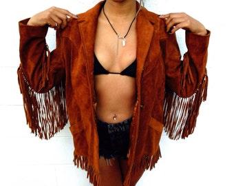70s Leather fringe jacket