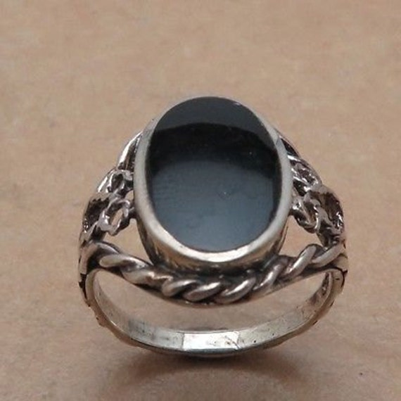 Rope Design Bands: Vintage Oval Black Onyx Rope Design Ring Size7 By