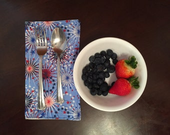 Set of two (2) 4th of July cloth napkin