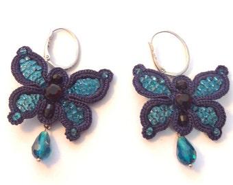 Earrings butterfly earrings hook earrings, turquoise earrings, earrings gift