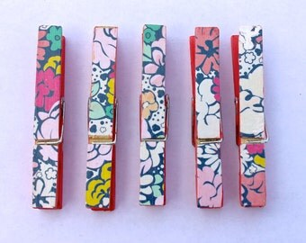 Clothespins- Patterned: Coral Floral