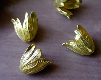 4pc Large Brass Tulip Bead Caps Yellow Brass Golden Color