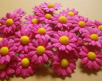 "25 Paper Flowers (Size 1.5"") Mulberry Paper Craft flower, Wedding, Mulberry paper daisies, Fuchsia Paper Daisy."