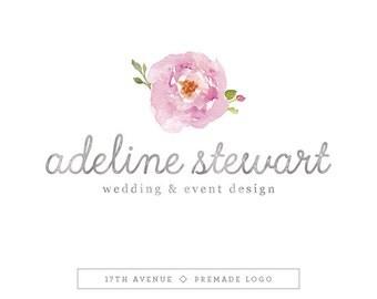 """Premade Logo Design - Watercolor Flower Logo - Photography Logo - Boutique Logo - Small Business Logo - """"Adeline"""" Deluxe"""