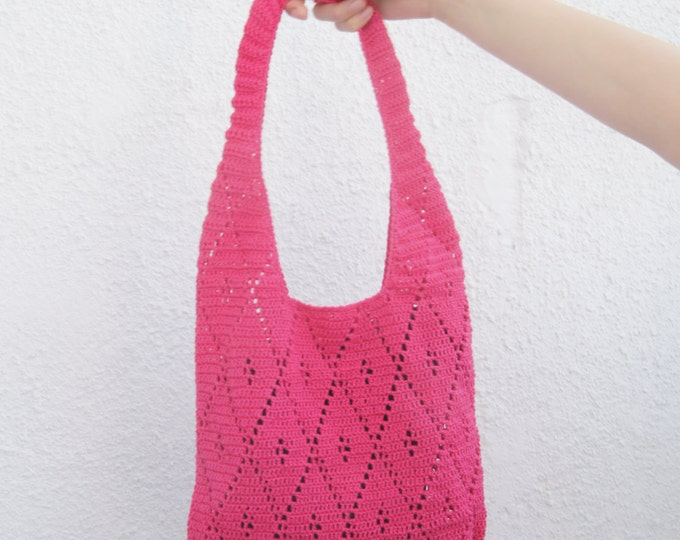 Crochet Tote Market Summer Beach Bag Custom Color Boho Handmade Hot Pink