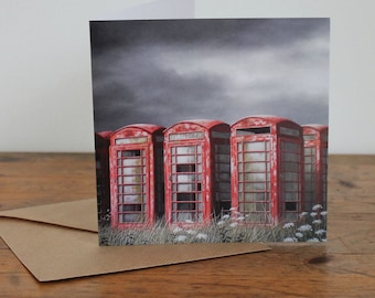 Phone box card - 'With Love' - Fine Art card - Telephone boxes