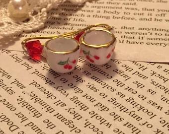 Gold Cherry Teacup Earrings