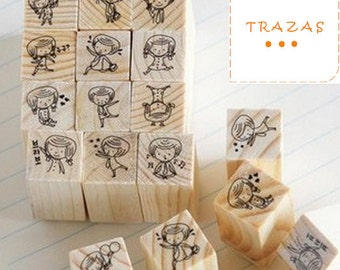 12 PCS/Set seals wood girl