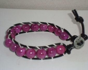 Purple Bead Leather Wrap Bracelet