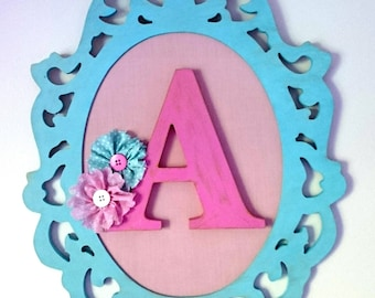 Personalized framed letter, nursery wall art, children's room art, baby girl nursery