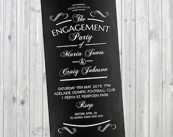 Chalkboard Typography Engagement Invitation