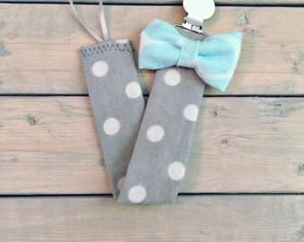 Grey Polka-Dot Bowtie Pacifier Clip