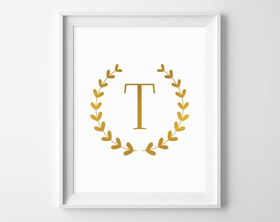 Letter t wall art gold letter printable monograms for wall for Gold wall decor letters