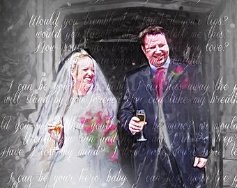 Custom Anniversary Wedding Art Printed on Canvas First Dance Lyrics Vows & Digital Painting