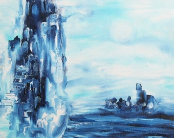 Abstract futurist landscape oil painting signed