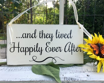WEDDING SIGNS | and they lived Happily Ever After | Bride and Groom | Mr and Mrs | Wood Wedding Signs | Flower Girl Signs | 6 x 11.5