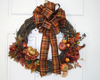 Belmont Fall Plaid Bow - 5 Sizes
