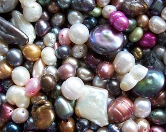 Freshwater Pearl Bead Mix Assorted 1/4 lb Pound Biwa Nugget Rice Potato Coin 4 oz