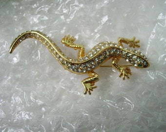 Rhinestone Lizard Gecko Pin