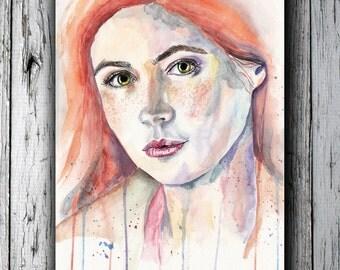 Amelia Pond. Karen Gillan (Doctor Who) - Instant download. Printable watercolor art