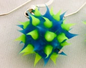 Blue and green spiky earrings, spiky rubber earrings, spiky ball earrings, silicone ball earrings, sterling silver and spiky ball dangles