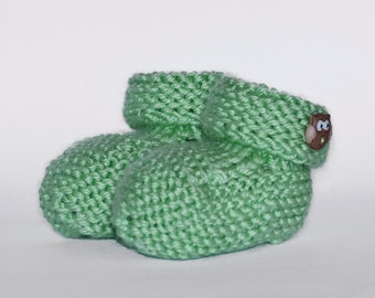 Cute Knit Baby Booties - 3-6 mos