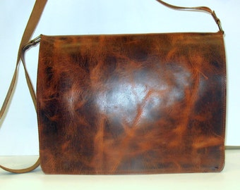 LEATHER MESSENGER Bag - Leather Laptop Bag - Leather Briefcase - Business Briefcase - Men Bag - Office Bag in Dark Brown color