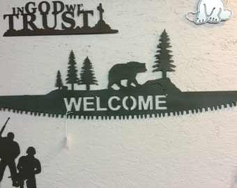 Two Man Saw Welcome Sign 32.5x 12