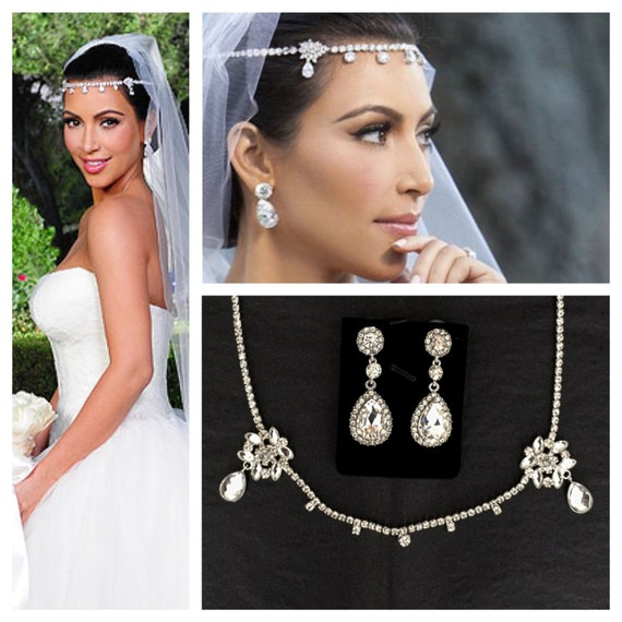 Kim Kardashian Wedding Headpiece Earrings Set Tiara Headband