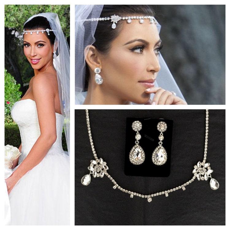 Kim Kardashian Wedding Gift: Kim Kardashian Wedding Headpiece Earrings Set Tiara By