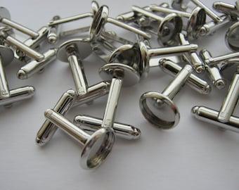 10 Cufflinks Blanks Settings Fits 14mm Cabochons Bezel Cuff Links Men's Jewellery Making Findings