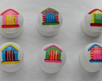 Beach Hut Drawer Knobs/ Cupboard Handle Hand Painted Set of 6- 3 sizes available 30mm, 40mm, 53mm