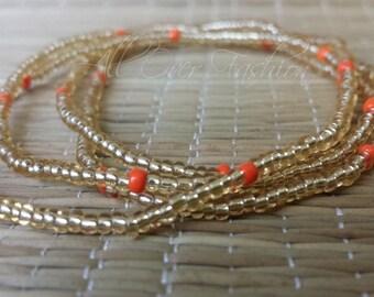 Gold and Orange Waist Beads