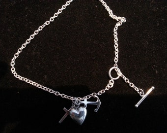 Sterling Silver Hope, Faith and Charity Anklet