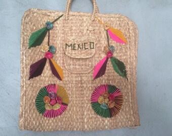 Vintage 'MEXICO' Straw Tote