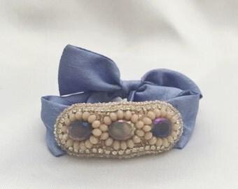 Tie Bracelet in blush/ocean