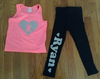 Glitter Initial tank with Glitter Name Leggings